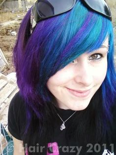Beautiful blue and purple hair with side/angled bangs (Punky Colour Atlantic Blue and Plum).