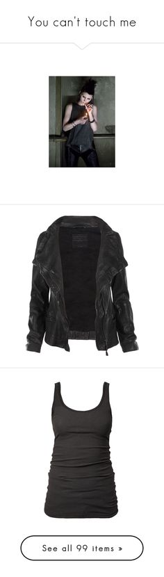 """You can't touch me"" by morbid-octobur ❤ liked on Polyvore featuring rooney mara, pictures, outerwear, jackets, tops, coats, slim fit jackets, leather jackets, asymmetrical leather jackets and asymmetrical jacket"
