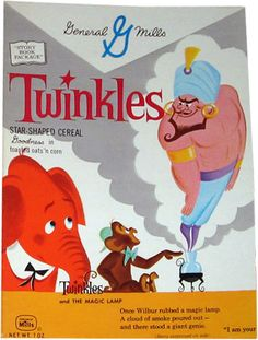 1960 Twinkles Cereal Box - Magic Lamp Retro Advertising, Retro Ads, Children Advertising, Vintage Advertisements, Retro Food, Vintage Ads, Retro Recipes, Vintage Recipes, Vintage Food Labels