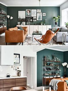 Color wall is nice Too busy art color of furniture works well with walls (brown - - Living Room Table Tiny Living Rooms, Living Room Green, Home Living Room, Interior Design Living Room, Living Room Designs, Living Room Decor, Decor Room, Bedroom Decor, Dining Room