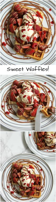 ❤️ Sweet Waffles with Berries, Chocolate, Ice Cream & Coulis… Perfect Treat for Valentines! Waffle Ice Cream, Waffle Bar, Brunch Recipes, Breakfast Recipes, Donuts, Janes Patisserie, Waffle Iron Recipes, Delicious Desserts, Yummy Food
