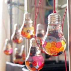 "Dave Hallett's ""Bright As A Button"" ornamental pieces. Would make excellent keepsakes for the maid of honour/best man Light Bulb Art, Light Bulb Crafts, Bougie Partylite, Recycled Light Bulbs, Deco Cafe, Coin Couture, Christmas Party Decorations, Diy Home Crafts, Easy Diy"