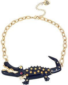 NAUTICAL ALLIGATOR PENDANT BLUE accessories jewelry necklaces fashion