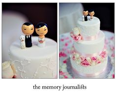 Mylene and Victor's cake. I adore this topper because they included their dog Bella. So cute. Cake was made by Ettore's European Bakery.  Photography by: The Memory Journalists Team