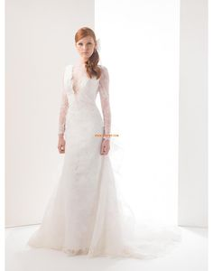 Escote en V Apliques Cremallera Vestido de Novia 2015