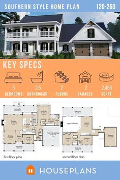 Suburban House, Traditional House Plans, Home Design Plans, Classic House, Southern Style, Second Floor, Exterior Design, Architecture Design, Floor Plans