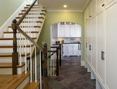 Green ties into slate floor Shingle Style Mudroom and Butlers Pantry - Traditional - Entry - Boston - LDa Architecture & Interiors Floor Design, House Design, Tile Design, Fresh Living Room, White Stairs, Entry Hallway, Foyer, Stair Railing, Railing Design