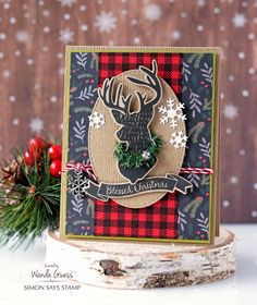 Simon Says Stamp Magical Christmas stamps and dies. Holiday Release 2016 Believe in the Season. Card by Wanda Guess. Deer head, antlers, plaid, buffalo check, retro, vintage Christmas