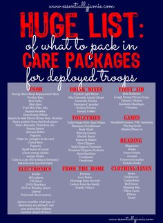 What to pack in a carepackage for deployed troops. Check out this huge list for carepackage ideas.