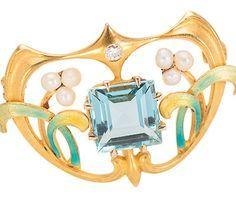 Krementz Art Nouveau Aquamarine Brooch, 14kt yellow gold, aquamarine estimated 1.7 carats, European cut diamond, freshwater pearl, enamel, circa 1900, made by Krementz&Co, Newark, NJ.  http://www.georgianjewelry.com/items/show/16070-krementz-art-nouveau-aquamarine-brooch