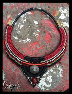 Micro macrame tribal necklace leather cord metal beads hematite bead Czech beads magnetic clasp