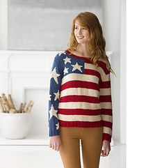 Flag Pullover #L30155 by Lion Brand Yarn