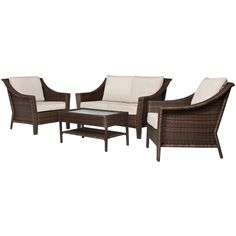 Rolston 4-pc. Wicker Patio Conversation Furniture Set ($720) ❤ liked on Polyvore featuring home, outdoors, patio furniture, outdoor wicker furniture, wicker conversation sets, wicker garden furniture, threshold outdoor furniture and wicker patio furniture