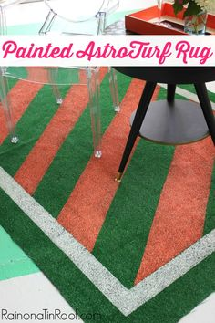 AstroTurf rugs are SO much cheaper than regular rugs! Just put your own spin on it with a little paint! Painted AstroTurf Rug