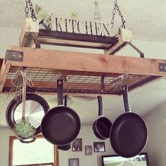 If you are looking for Incredible Hanging Rack Kitchen Decor Ideas, You come to the right place. Here are the Incredible Hanging Rack Kitchen D. Kitchen Pans, Diy Kitchen, Kitchen Storage, Kitchen Dining, Kitchen Decor, Kitchen Island, Pan Rack Hanging, Hanging Pans, Pan Hanger