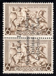 Greece 1941 N11 6d  OVPT Ionian Islands Italian Occupation Used F-VF Olive Brown