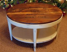 round coffee table shabby white/ivory distressed finish | shabby