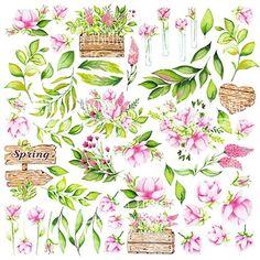 Spring blossom - obrázky na vystrihnutie inch Floral Illustrations, Botanical Illustration, Watercolor Illustration, Floral Watercolor, Printable Stickers, Planner Stickers, Overlays, Scrapbook Paper, Scrapbooking