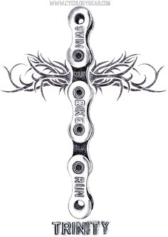Lead pencil on paper drawing. TRINITY: one sport, but also 3. It also means a collective of 3 things. I drew it as a linked bicycle chain. Can be religious -or not. Triathlon inspires passion and can be like a religion -as can any sport be viewed as such.