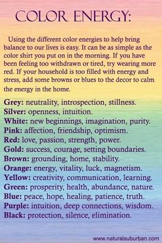 Look on the chart to see how to use Color Energy. Then, select a color to wear today that reflects your energy, and your mood.