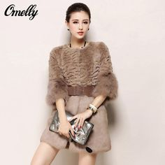e203c5a13c9 Luxury Elegant Faux Cony Rabbit Hair Fur Coat Long Winter Women Fur  Outerwear Overcoat Jacket New