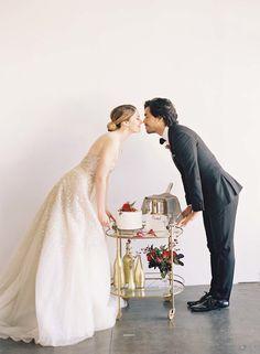 Photography: Caroline Tran Photography - www.carolinetran.net/ Wedding Dress: Diamante By Carolina Herrara - www.carolinaherrera.com/newyork/en/bridal/fall-2015/collection/11   Read More on SMP: http://www.stylemepretty.com/2016/02/08/chic-valentines-day-elopement-inspiration/