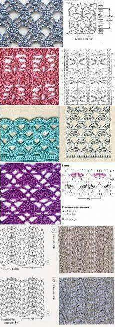 trong> Knitting by a hook Crochet Fabric, Crochet Flower Patterns, Crochet Blanket Patterns, Crochet Motif, Easy Crochet, Crochet Lace, Stitch Patterns, Knitting Patterns, Crochet Stitches Chart