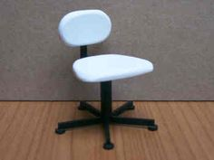 1/12th scale., A Swivel Chair, finished in white, to match our Manicure Table, this chair, does swivel, and will add a finishing touch to your miniature Beauty Salon