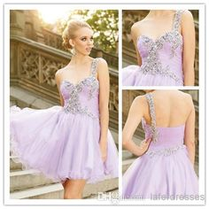 Discount Beautiful 2014 A Line One Shoulder Sleeveless Short Tulle With Beads Lilac Light Purple Homecoming Dresses Graduation Gowns Party Dress 0719 Online with $101.79/Piece | DHgate