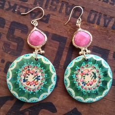 Handpainted wooden disk earrings, green spring flower wreath, off white and pink/peach accents, pink teardrop bezel