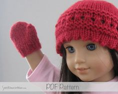 American Girl Doll Knitting Pattern - Little Bridget PDF - Hat pattern for American Girl Dolls - plus Doll mitten pattern