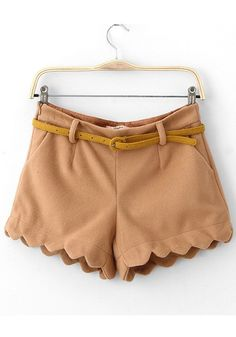 Khaki Plain Mid Waist Short Wrap Wool Pants ... Super cute to dress up or down in summer
