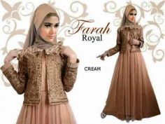 Gaun pesta muslim terbaru Farah royal cream
