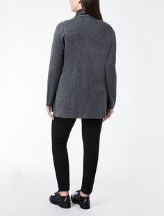 Marina Rinaldi MISTER grigio scuro: Cardigan in seta e cachemire.
