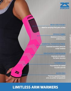 Compression Arm Warmer | Storage Pocket | Thumboles | Muscle Support | Moisture Wicking | Sun protection
