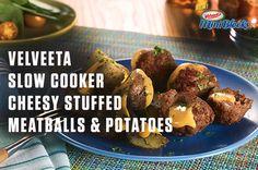 How to make VELVEETA Slow Cooker Cheesy Stuffed Meatballs…