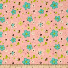 """Stitched Garden Bees & Flowers Pink 12"""" swatch"""