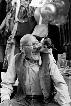 Fab B picture of laughing old man being licked by his #dog !