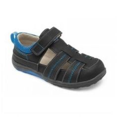 2015 Spring Christopher II Fisherman Sandals in Black by #SeeKaiRun - Anchors aweigh! These black and blue accented fisherman sandals are made from rubberized scuff resistant leather for durability. They are so comfortable he'll be sailing the seas all summer long. #3littlemonkeys