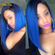 101.05$  Know more - http://ain3g.worlditems.win/all/product.php?id=32724337389 - Ombre Blue 3Pcs Brazilian Straight Hair Weave Bundles Grade 7A Blue Bundles Ombre Brazilian Virgin Hair Straight 1B Ombre Blue