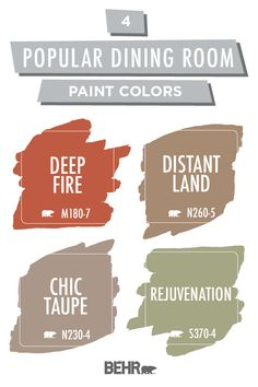 Could the interior design of your home use a style refresh? Behr Paint has got you covered with these popular dining room paint colors. Deep Fire, Distant Land, Chic Taupe, and Rejuvenation are calming shades of red, brown, and green that are sure to add a relaxed style to your home. Click below to learn more.