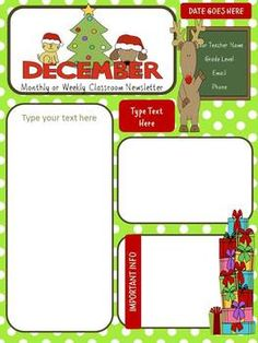 December/winter Newsletter by Sunny G Gold Star Teaching Resources Class Newsletter Template, Preschool Newsletter Templates, Letter Templates Free, Newsletter Ideas, Kindergarten Newsletter, Classroom Newsletter, Teacher Newsletter, Christmas Newsletter, Free Preschool