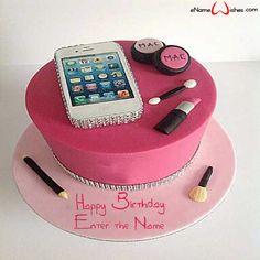 Smart Phone Birthday Name Cake - eNameWishes 13 Birthday Cake, Birthday Cakes For Teens, Birthday Name, 13th Birthday Parties, 14th Birthday, Teenage Girl Birthday, Birthday Makeup, Birthday Ideas, Cake Images