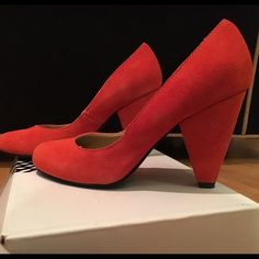 Urban Outfitters Heels - coral red UO shoes in a great coral orangish red color. Heel is 3 or 3.5 inches tall. Only been worn once and has been stored in box so it's in great condition. The suede looks practically new. Urban Outfitters Shoes Heels