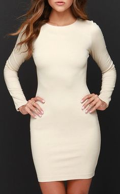 Holy Grail Beige Long Sleeve Dress
