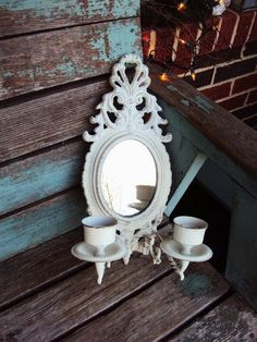 Vintage Shabby Chic Mirror Candle Sconce by primitivepincushion