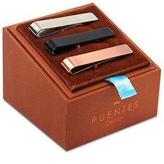 """3 Pc Gift Boxed Set of Tie Bar Clip, 1.9"""" Slide Clasp Brushed Silver, Black and Brushed Rose Gold"""