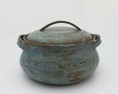 Cazuela de cerámica, hecha a mano de cazuela, pote con la mano, olla de frijol de la hornada, cocina cerámica pote azul cazuela, horno olla…