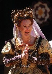 Photo by: Lora Schraft, Staff Photographer  Queen Elizabeth talks to her court at the Renaissance Faire