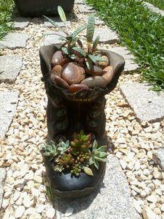 Decoração - Cactos e suculentas - Jardim de suculentas em bota velha.